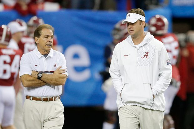 Offensive Coordinator Lane Kiffin of the Alabama Crimson Tide and Head Coach Nick Saben of the Alabama Crimson Tide walk during pre game of the 2016 Chick-fil-A Peach Bowl at the Georgia Dome on December 31, 2016 in Atlanta, Georgia. (Photo by Mike Zarrilli/Getty Images)