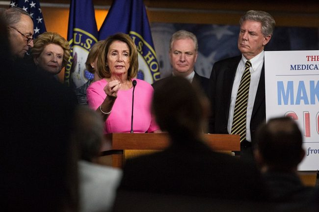 House Minority Leader Nancy Pelosi (D-CA) speaks during a press conference discussing Republican attempts to dismantle Medicare, Medicaid, and The Affordable Care Act on Capitol Hill January 4, 2017 in Washington, D.C. (Photo credit: ZACH GIBSON/AFP/Getty Images