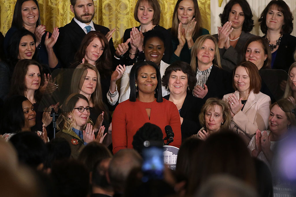 U.S. first lady Michelle Obama delivers remarks (Photo credit: Getty Images)