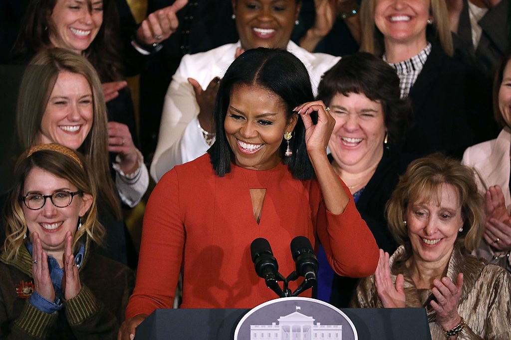 U.S. first lady Michelle Obama delivers remarks honoring the 2017 School Counselor of the Year and counselors from across the country in the East Room of the White House January 6, 2017 in Washington, DC. These were the last public remarks by the first lady during her husband Barack Obama's presidency. (Photo by Chip Somodevilla/Getty Images)