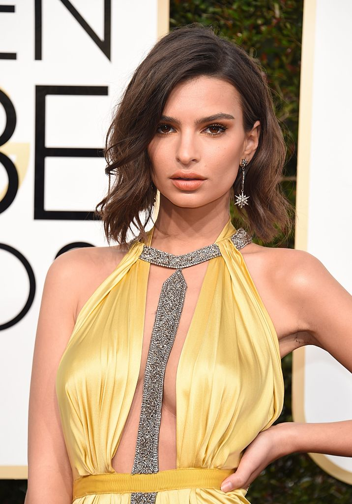Emily Ratajkowski arrives at the 74th annual Golden Globe Awards. (Photo credit: VALERIE MACON/AFP/Getty Images)