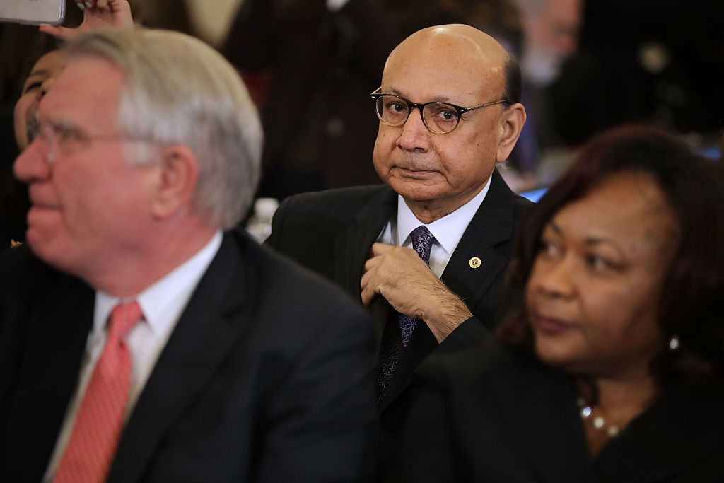Khizr Khan attends a Senate Judiciary Committee hearing on Capitol Hill (Getty Images)