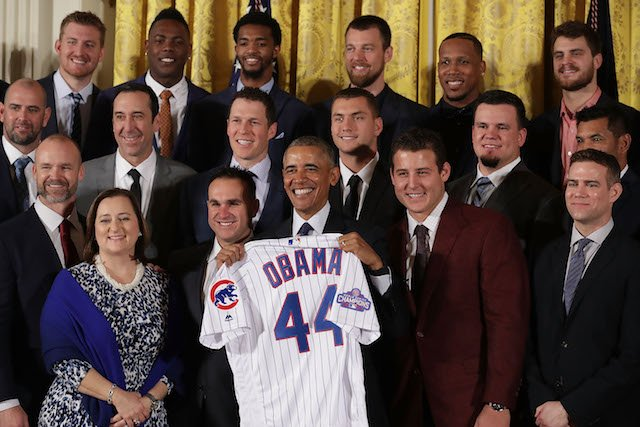 WASHINGTON, DC - JANUARY 16: U.S. President Barack Obama poses for photograph with the Major League Baseball World Series champion Chicago Cubs during a celebration in the East Room of the White House January 16, 2017 in Washington, DC. Obama made sure to celebrate the Cubs' victory at the White House during his last week in office because they are from his adopted home town of Chicago. (Photo by Chip Somodevilla/Getty Images)