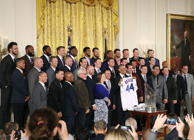 WASHINGTON, DC - JANUARY 16: U.S. President Barack Obama (C) poses for a picture with members of the 2016 World Series Champion Chicago Cubs in The East Room at the White House, on January 16, 2017 in Washington, DC. The Cubs beat the Cleveland Indians in last year's World Series ending a 108-year drought. (Photo by Mark Wilson/Getty Images)