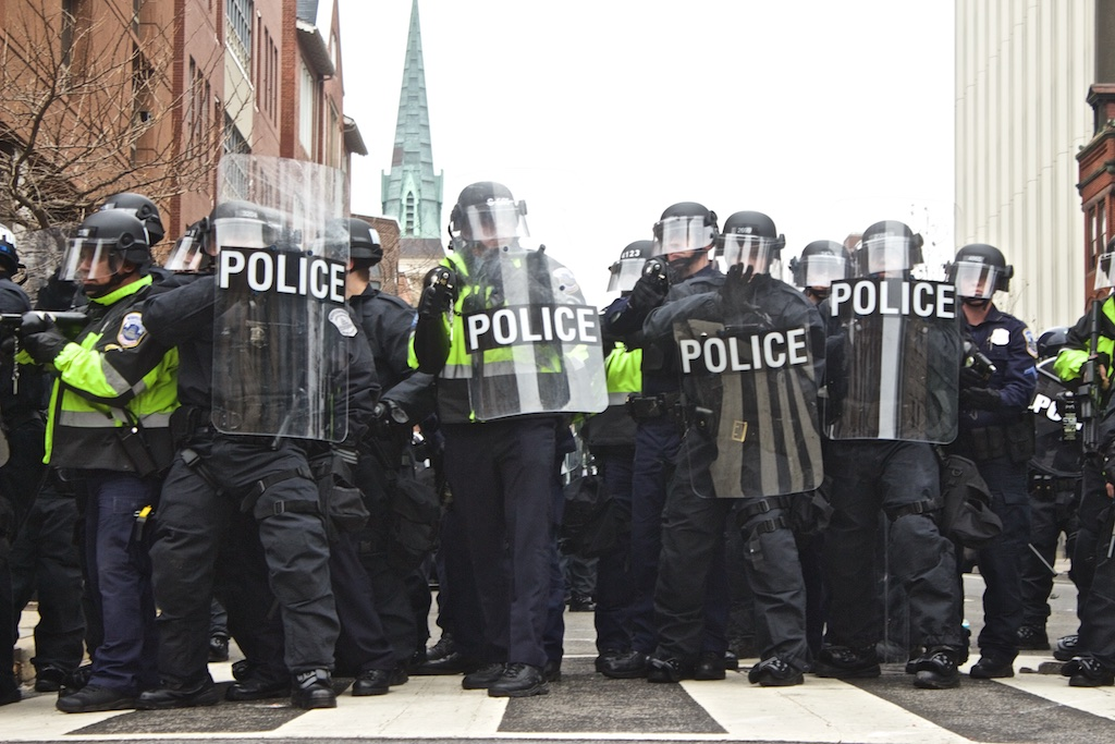 Heavily armored riot police prepare for protestors - Daily Caller - Abbey Jaroma