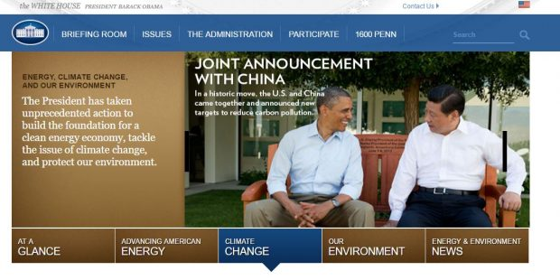 Screenshot of Obama's White House website on global warming