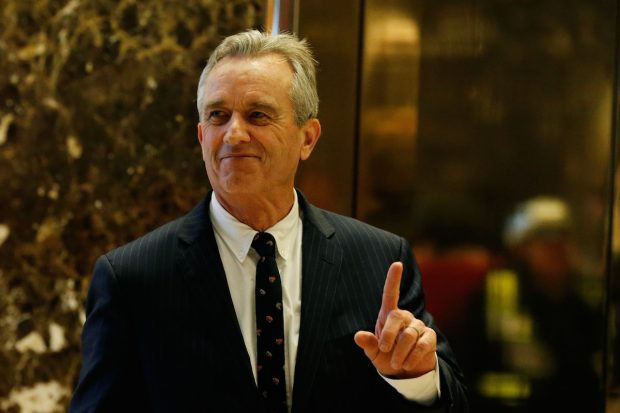 Robert F. Kennedy Jr. gestures while entering the lobby of Trump Tower in Manhattan, New York, January 10, 2017. REUTERS/Shannon Stapleton