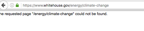 Screenshot of White House.gov's global warming page