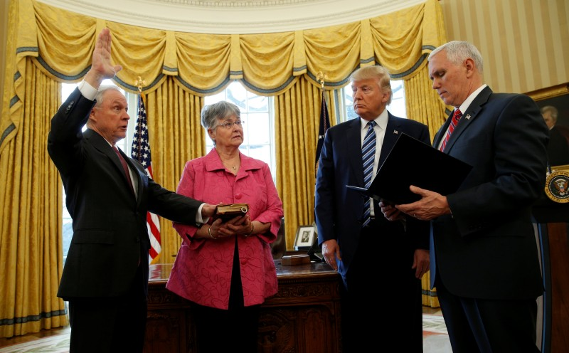 Jeff Sessions is sworn in as U.S. Attorney General at the White House in Washington