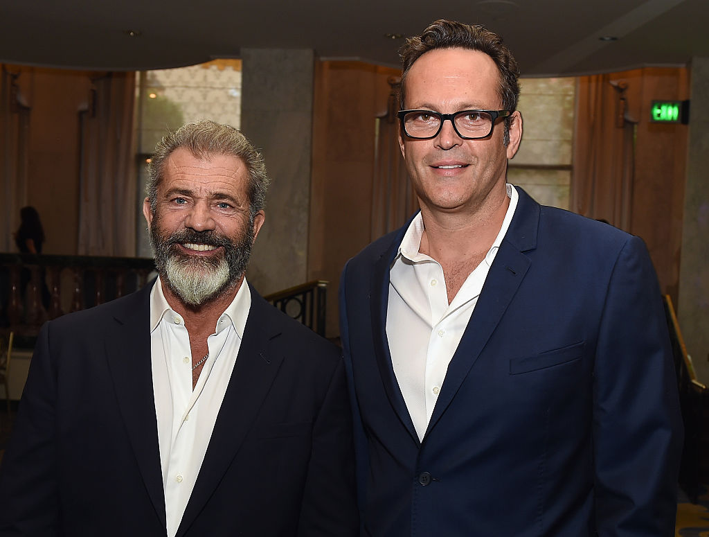 Actors Mel Gibson (L) and Vince Vaughn attend the Hollywood Foreign Press Association's Grants Banquet at the Beverly Wilshire Four Seasons Hotel on August 4, 2016 in Beverly Hills, California. (Photo by Kevin Winter/Getty Images)