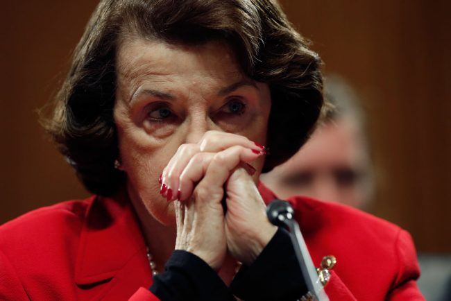 Sen. Dianne Feinstein listens to remarks from Republican senators during the Senate Judiciary Committee's 'markup' on the nomination of Sen. Jeff Sessions to be the next Attorney General of the U.S. January 31, 2017 in Washington, D.C. (Photo by Win McNamee/Getty Images)