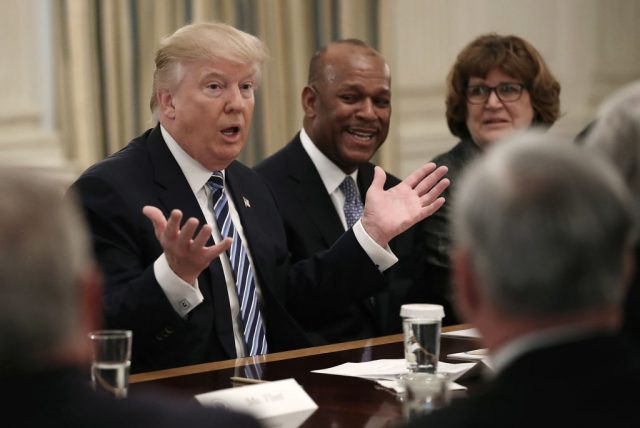 President Donald Trump meets with members of the airline industry at the White House February 9, 2017 in Washington, D.C. (Photo by Win McNamee/Getty Images)