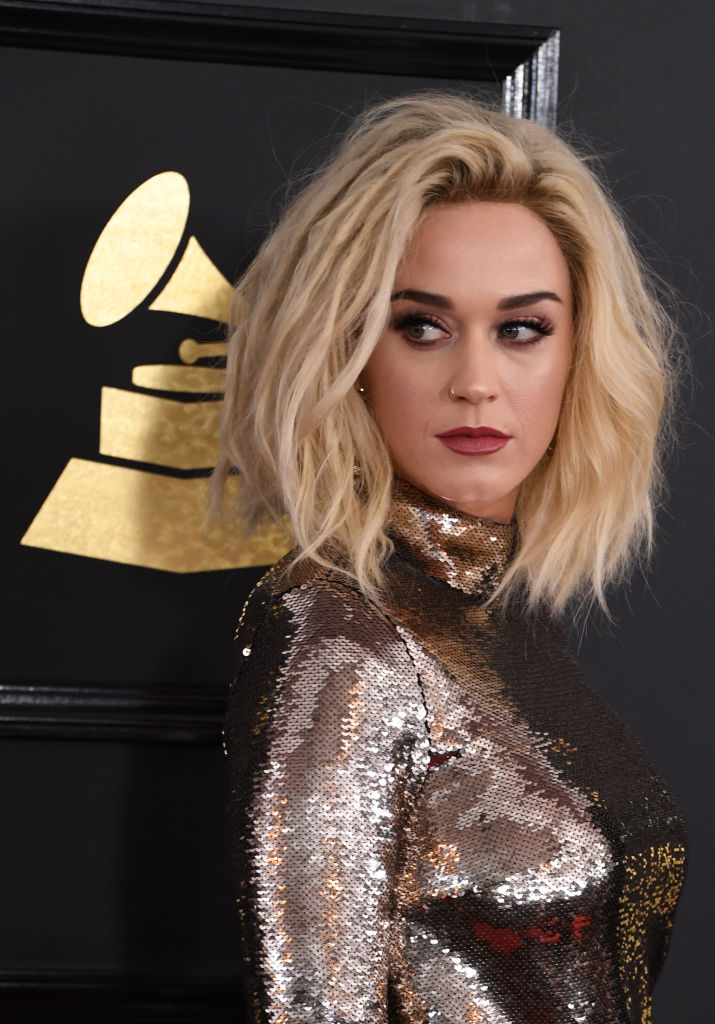 Katy Perry arrives for the show. (Photo credit: MARK RALSTON/AFP/Getty Images)