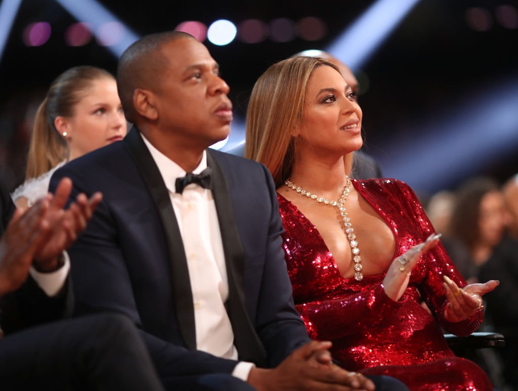 Music artists Jay Z and Beyoncé during The 59th GRAMMY Awards at STAPLES Center on February 12, 2017 in Los Angeles, California. (Photo by Christopher Polk/Getty Images for NARAS)