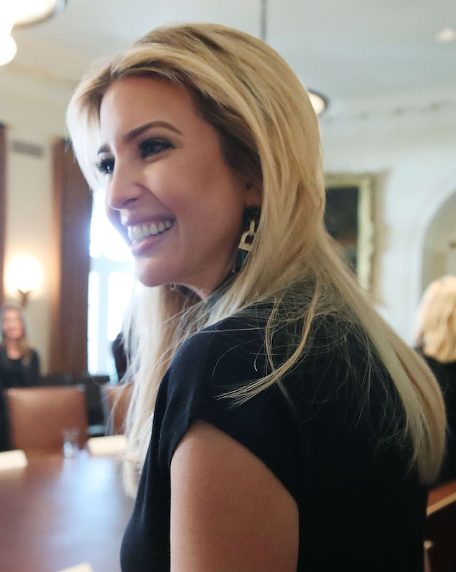 WASHINGTON, DC - FEBRUARY 13: Ivanka Trump attends a round table discussion with her father U.S. President Donald Trump and Canadian Prime Minister Justin Trudeau, on the advancement of women entrepreneurs and business leadersat the White House February 13, 2017 in Washington, DC. (Photo by Mark Wilson/Getty Images)