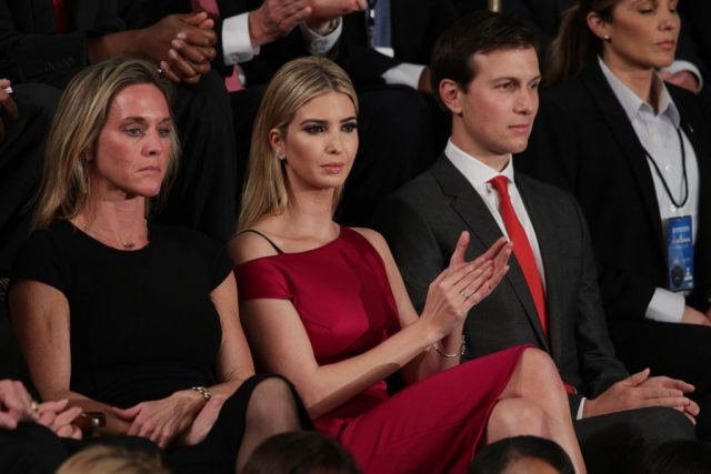 Ivanka Trump and White House Senior Advisor to the President for Strategic Planning Jared Kushner (R) look on as U.S. President Donald Trump addresses a joint session of the U.S. Congress on February 28, 2017 in the House chamber of the U.S. Capitol in Washington, D.C. (Photo by Alex Wong/Getty Images)