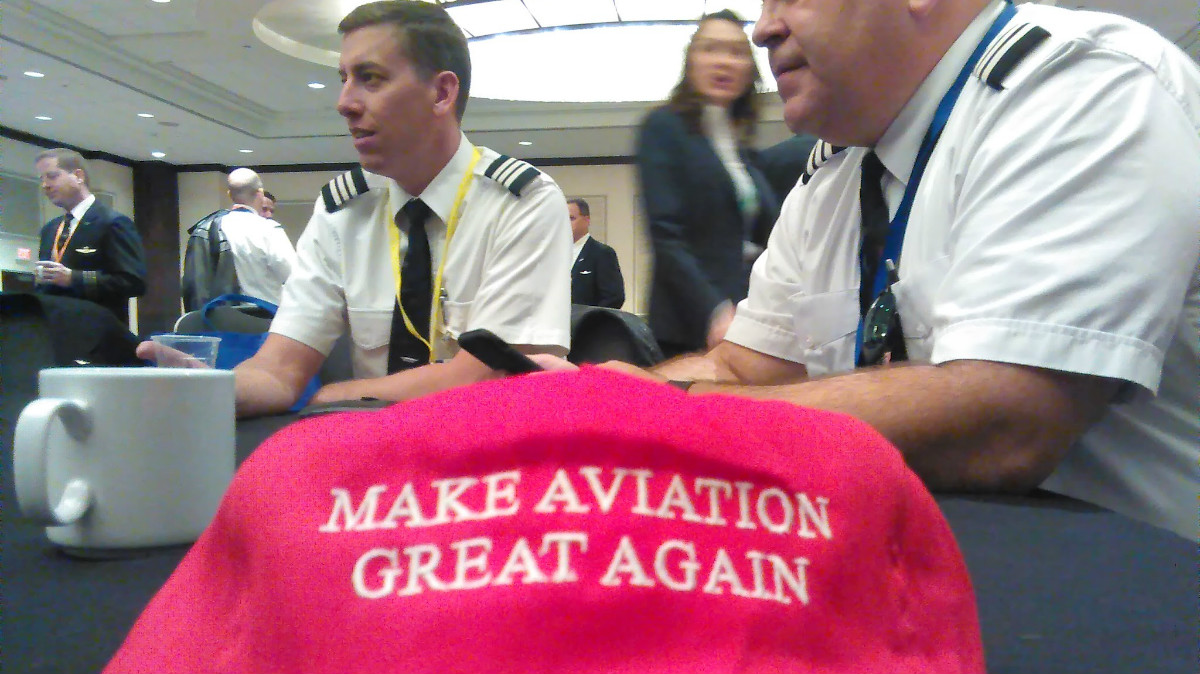 """Pilots donned """"Make Aviation Great Again"""" hats during a Jan. 24 rally outside of the White House: Ted Goodman/TheDCNF"""