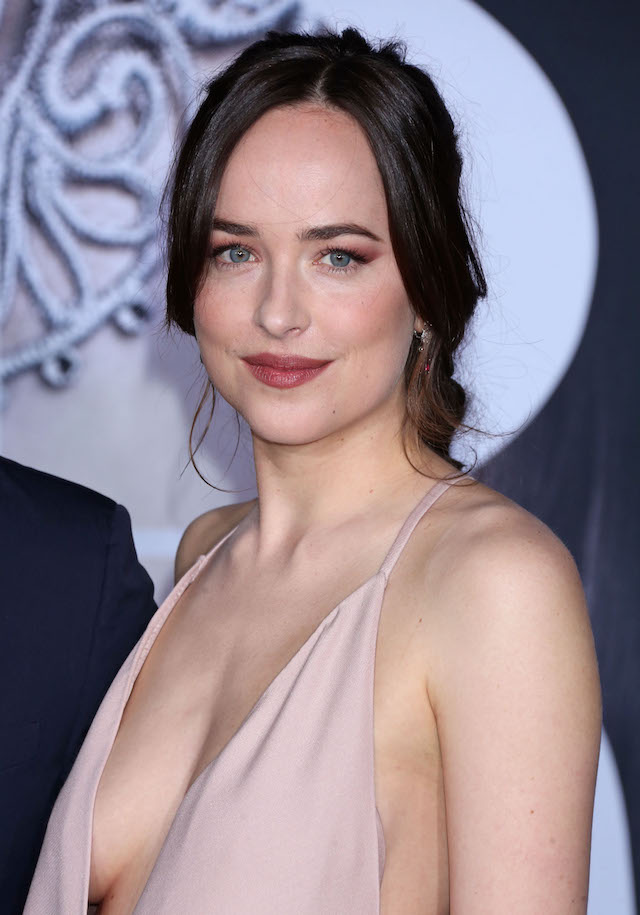 Universal Pictures premiere for Fifty Shades Darker at The Theatre at Ace Hotel in Downtown Los Angeles, California. <P> Pictured: Dakota Johnson <B>Ref: SPL1425062 020217 </B><BR /> Picture by: Russ Einhorn / Splash News<BR />