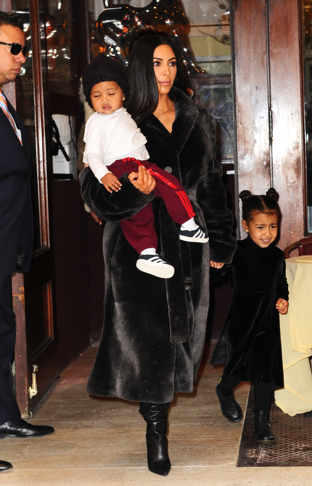 Kim Kardashian with children Saint West and North West in NYC. (Photo credit: Splash News)