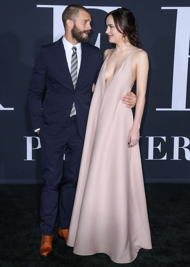 LOS ANGELES, CA, USA - FEBRUARY 02: Los Angeles Premiere Of Universal Pictures' 'Fifty Shades Darker' held at the theatre at Ace Hotel on February 2, 2017 in Los Angeles, California, United States. (Photo by Xavier Collin/Image Press Agency/Splash News) <P> Pictured: Jamie Dornan, Dakota Johnson <B>Ref: SPL1434218 020217 </B><BR /> Picture by: Xavier Collin/IPA/Splash News<BR />