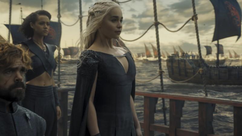 "Peter Dinklage, Nathalie Emmanuel, Emilia Clarke in HBO's ""Game of Thrones"". REUTERS/Courtesy of HBO"