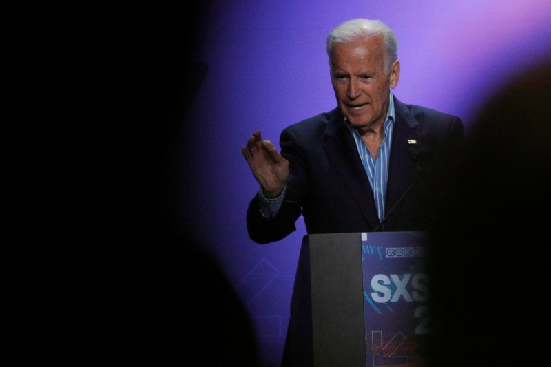Former U.S. Vice-President Joe Biden speaks about the Biden Cancer Initiative at the South by Southwest (SXSW) Music Film Interactive Festival 2017 in Austin, Texas, U.S., March 12, 2017. REUTERS/Brian Snyder