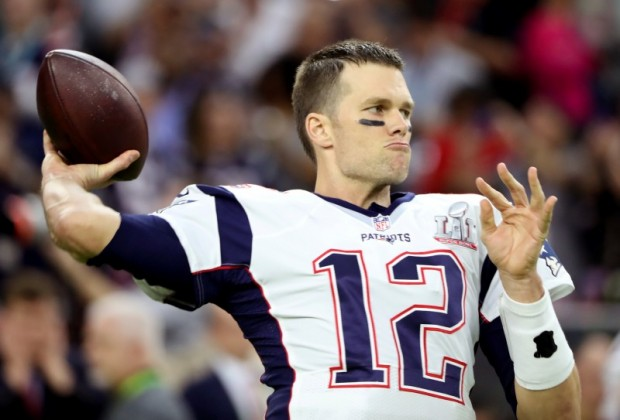 Tom warms up the cannon before the Super Bowl against the Falcons. (REUTERS/Adrees Latif/File Photo)