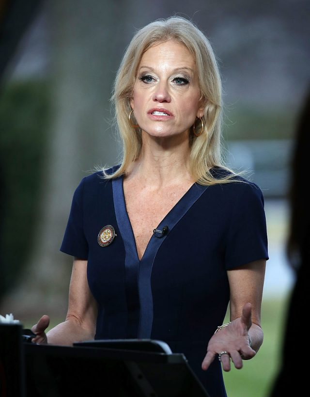 Counselor to President, Kellyanne Conway, appears on the Sunday morning show This Week with George Stephanopoulos, from the north lawn at the White House, January 22, 2017 in Washington, D.C. (Photo by Mark Wilson/Getty Images)