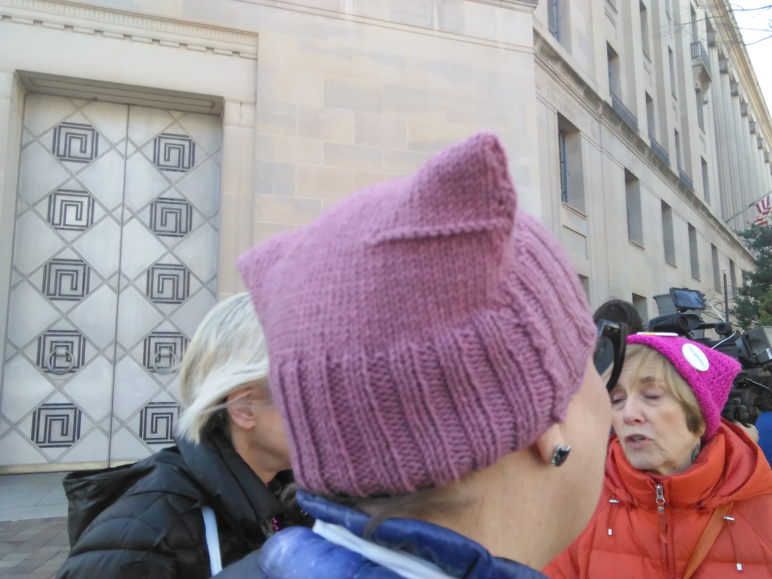 "The ""pussy hat"" was present on numerous activists heads during the Thursday protest outside of the Department of Justice building: Ted Goodman/TheDCNF"