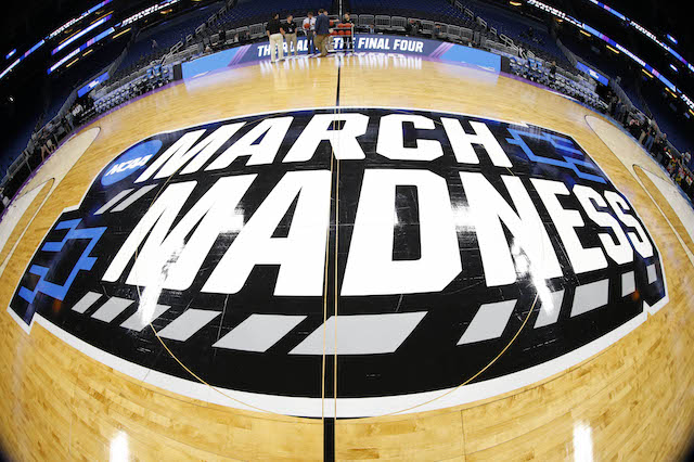 Mar 16, 2017; Orlando, FL, USA; General view of the March Madness logo prior to the game between the Maryland Terrapins and the Xavier Musketeers in the first round of the NCAA Tournament at Amway Center. Mandatory Credit: Kim Klement-USA TODAY Sports - RTX31E49