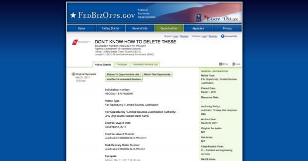 A funny post on an otherwise dull bureaucratic website (Image: Screenshot/Fedbizopps.gov)