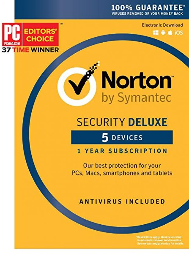 Normally $80, Norton Security Deluxe is 75 percent off today (Photo via Amazon)