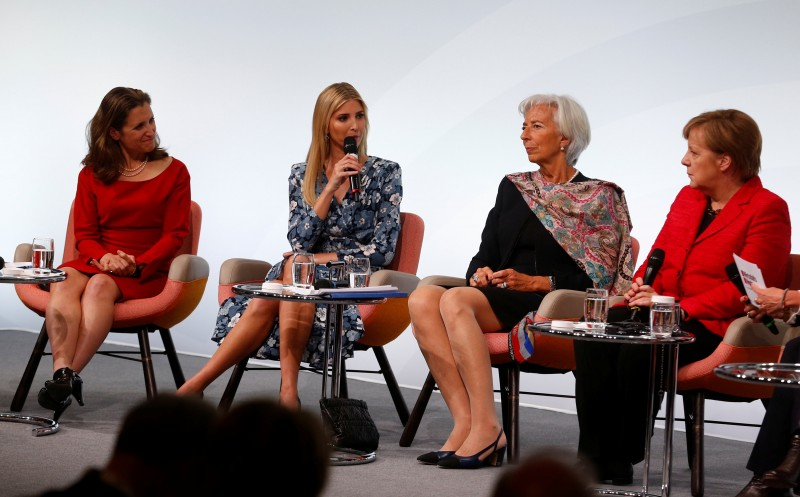 """Canadian Minister for Foreign Affairs Chrystia Freeland, Daughter of U.S. President Ivanka Trump, Christine Lagarde, Managing Director, International Monetary Fund and German Chancellor Angela Merkel attend the W20 Summit under the motto """"Inspiring women: scaling up women's entrepreneurship"""" in Berlin, Germany, April 25, 2017. REUTERS/Hannibal Hanschke"""