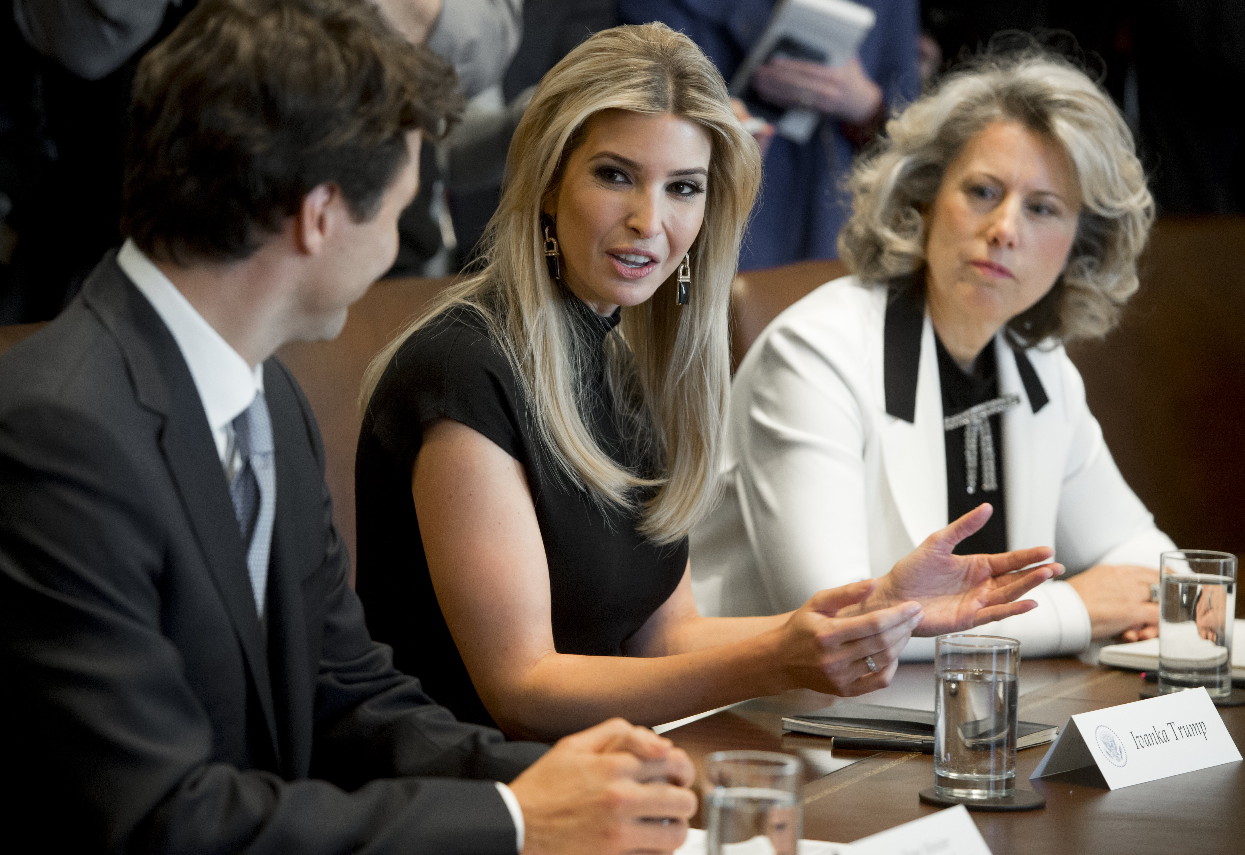 Canadian Prime Minister Justin Trudeau speaks alongside Ivanka Trump (C), daughter of US President Donald Trump, and Dawn Farrell (R), President and CEO of TransAlta Corporation, during a roundtable discussion on women entrepreneurs and business leaders in the Cabinet Room of the White House in Washington, DC, February 13, 2017. SAUL LOEB/AFP/Getty Images