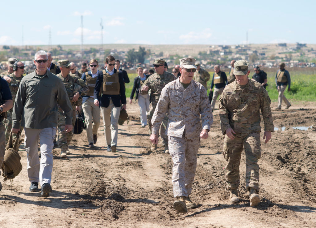 QAYYARAH WEST, IRAQ - APRIL 04: In this handout provided by the Department of Defense (DoD), Jared Kushner, Senior Advisor to President Donald J. Trump walks with military officials and service members at a forward operating base near Qayyarah West in Iraq, April 4, 2017. (Photo by Dominique A. Pineiro/DoD via Getty Images)