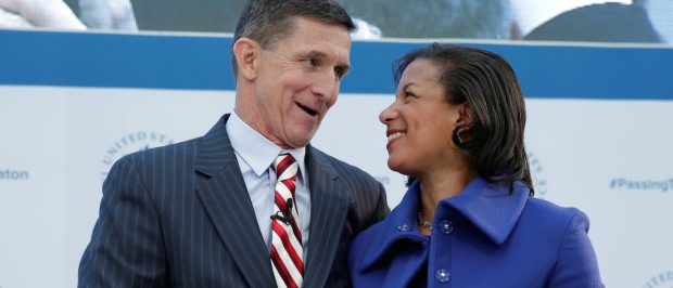 "White House National Security Adviser Susan Rice (R) and former Defense Intelligence Agency Director retired Army Lt. Gen. Michael Flynn, incoming White House national security adviser, shake hands at the U.S. Institute of Peace ""2017 Passing the Baton"" conference in Washington, January 10, 2017. REUTERS/Yuri Gripas"