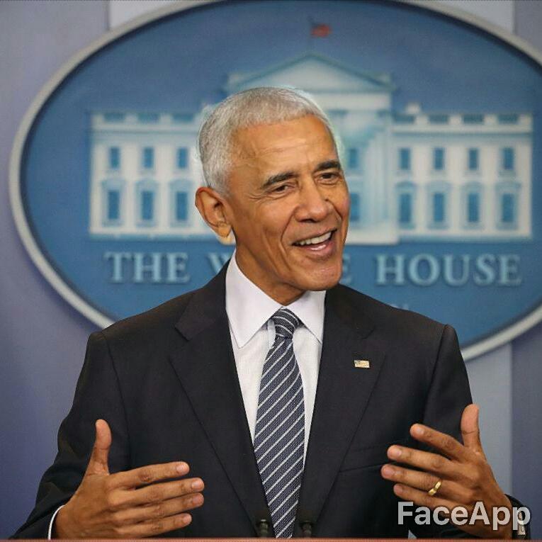 "Former President Barack Obama altered through FaceApp's ""Old"" filter. Original photo: (Mark Wilson/Getty Images)"