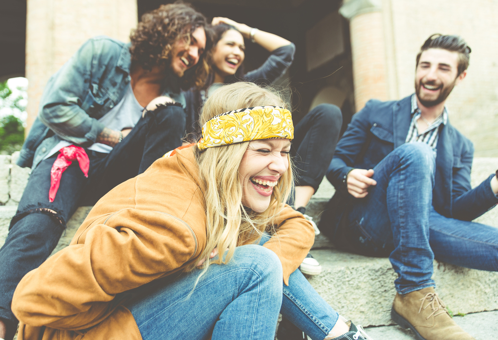 Laughing hipsters (Shutterstock)