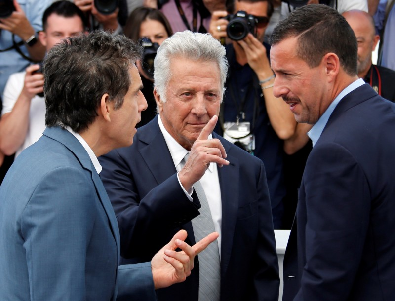 "70th Cannes Film Festival - Photocall for the film ""The Meyerowitz Stories"" (New and Selected) in competition - Cannes, France. 21/05/2017. Cast members Adam Sandler (R), Ben Stiller (L) and Dustin Hoffman pose. REUTERS/Jean-Paul Pelissier"
