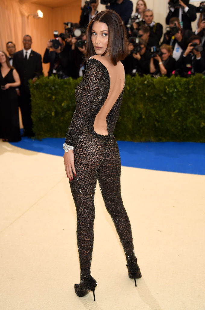 Bella Hadid's outfit had everyone talking. (Photo by Dimitrios Kambouris/Getty Images)