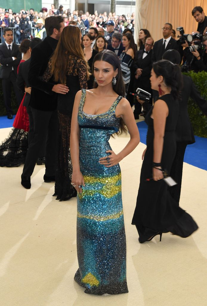 Emily Ratajkowski arrives for the Costume Institute Benefit on May 1, 2017, at the Metropolitan Museum of Art in New York. (Photo credit: ANGELA WEISS/AFP/Getty Images)