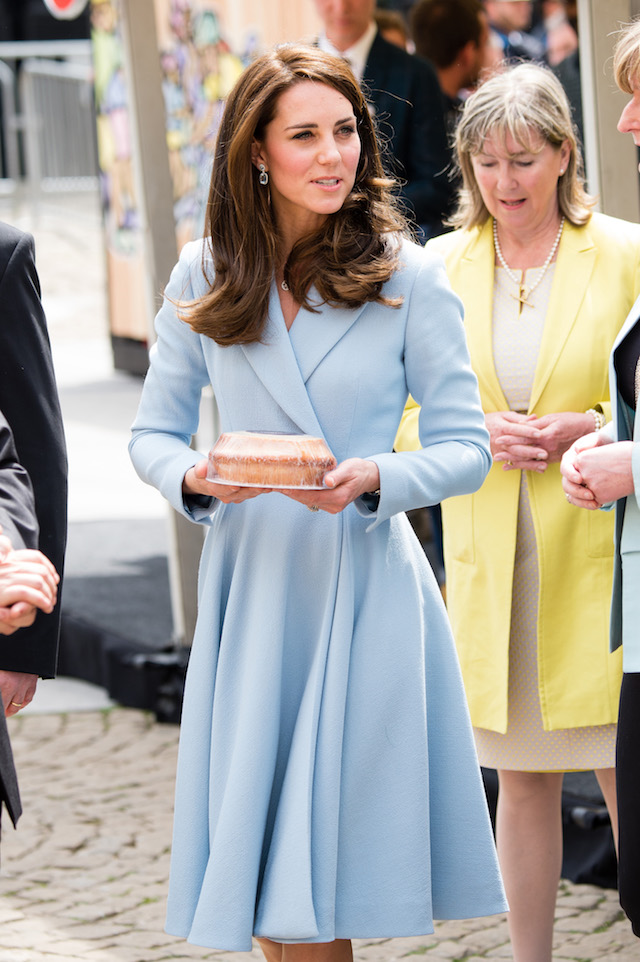 LUXEMBOURG, ENGLAND - MAY 11: Catherine, Duchess of Cambridge tours a cycling themed festival and unveils a mural of British cyclist Tom Simpson and Luxembourgish cycling legend Charly Gaul during a one day visit to Luxembourg at Place de Clairfontaine on May 11, 2017 in Luxembourg, Luxembourg. (Photo by Jeff Spicer - WPA POOL/Getty Images)