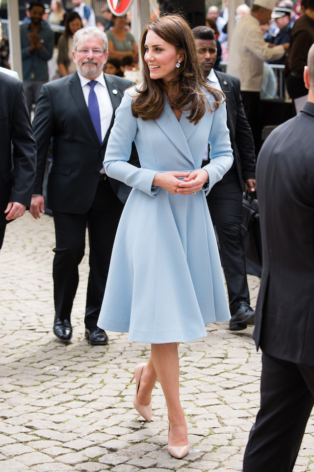 LUXEMBOURG, ENGLAND - MAY 11: Catherine, Duchess of Cambridge tours a cycling themed festival and unveils a mural of British cyclist Tom Simpson and Luxembourgish cycling legend Charly Gaul during a one day visit to Luxembourg at Place de Clairfontaine on May 11, 2017 in Luxembourg, Luxembourg. (Photo by Jeff Spicer/Getty Images)