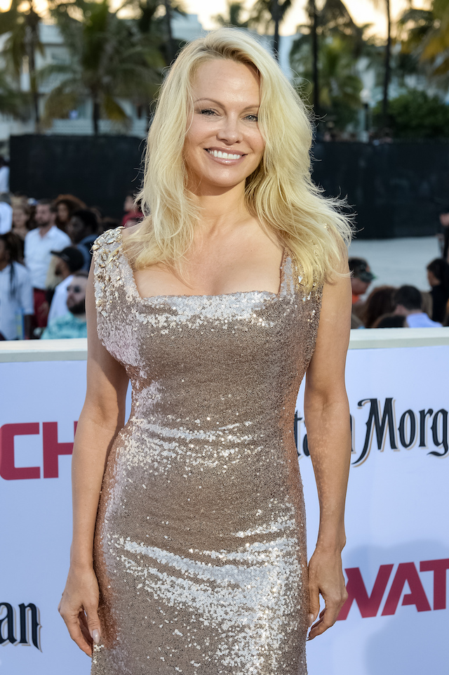 "MIAMI, FL - MAY 13: Pamela Anderson attends Paramount Pictures' World Premiere of ""Baywatch"" on May 13, 2017 in Miami, Florida. (Photo by Jason Koerner/Getty Images)"