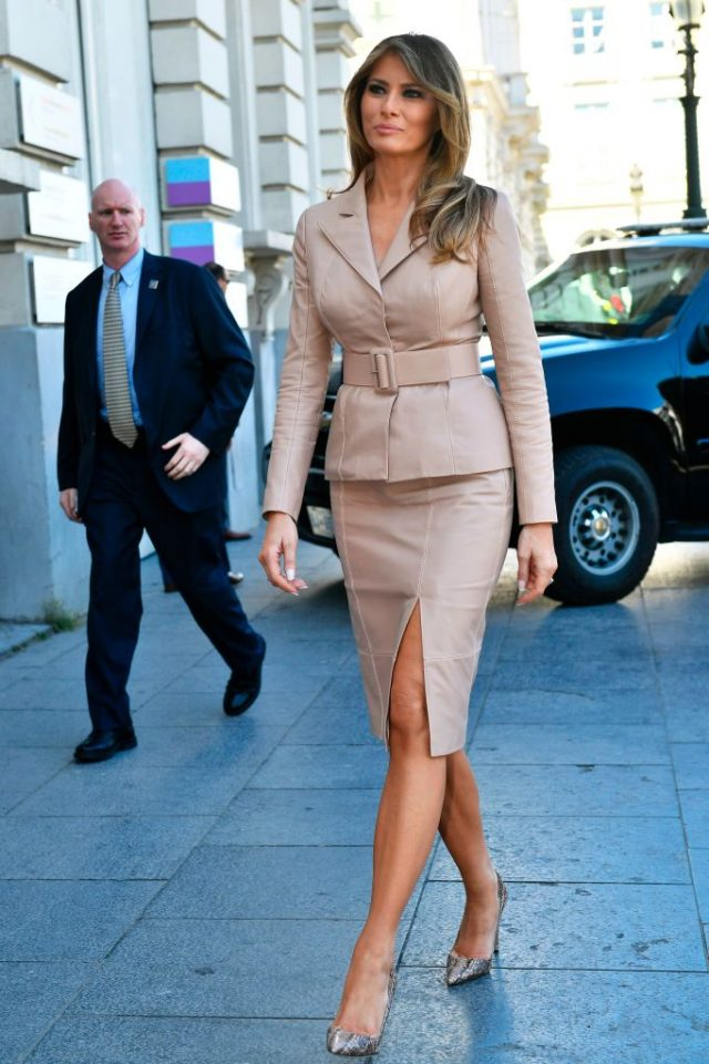 First Lady of the US Melania Trump arrives to visit to the Magritte Museum, on May 25, 2017, in Brussels, on the sidelines of the NATO (North Atlantic Treaty Organization) summit. (Photo credit: ERIC LALMAND/AFP/Getty Images)