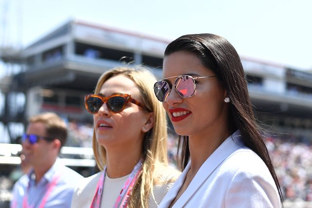 Spanish race car driver Carmen Jorda and Brazilian model Adriana Lima (R) arrive at the Monaco street circuit, on May 28, 2017 in Monaco, ahead of the Monaco Formula 1 Grand Prix. / AFP PHOTO / Andrej ISAKOVIC (Photo credit should read ANDREJ ISAKOVIC/AFP/Getty Images)