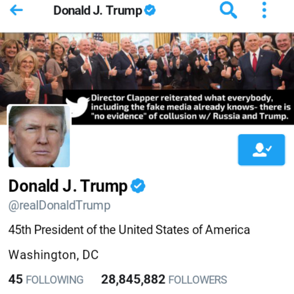 President Donald Trump's Twitter account (Ted Goodman/Screenshot)