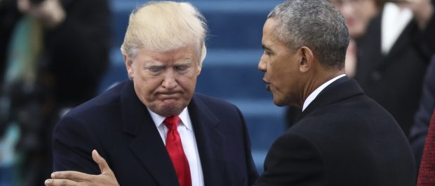 President Barack Obama (R) greets President elect Donald Trump at inauguration ceremonies swearing in Donald Trump as the 45th president of the United States on the West front of the U.S. Capitol in Washington, U.S., January 20, 2017. (REUTERS/Carlos Barria)