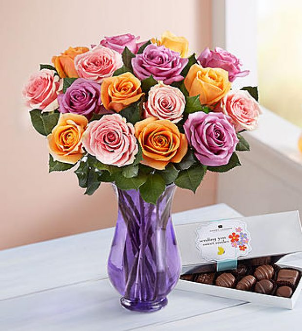 This arrangement of sorbet roses is part of the up to 50 percent off Mother's Day deal (Photo via 1800flowers)
