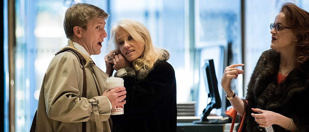 NEW YORK, NY - DECEMBER 8: (L to R) Republican political strategists Nick Ayers and Kellyanne Conway arrives at Trump Tower, December 8, 2016 in New York City. President-elect Donald Trump and his transition team are in the process of filling cabinet and other high level positions for the new administration. (Photo by Drew Angerer/Getty Images)NEW YORK, NY - DECEMBER 8: (L to R) Republican political strategists Nick Ayers and Kellyanne Conway arrives at Trump Tower, December 8, 2016 in New York City. President-elect Donald Trump and his transition team are in the process of filling cabinet and other high level positions for the new administration. (Photo by Drew Angerer/Getty Images)